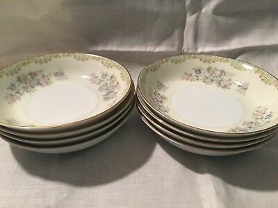 """NPS MEITO 5 3/8"""" DESSERT/BERRY BOWLS set of 8 Hand painted made in Japan"""