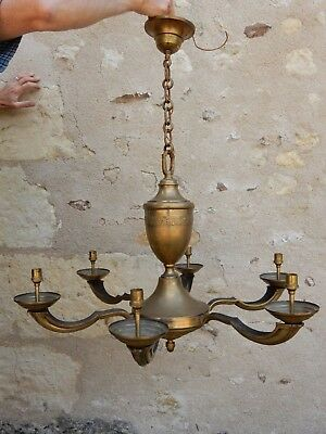 A Large Art Deco Chandelier Type Light Fitting In Brass Generally Vgc  To Rewire