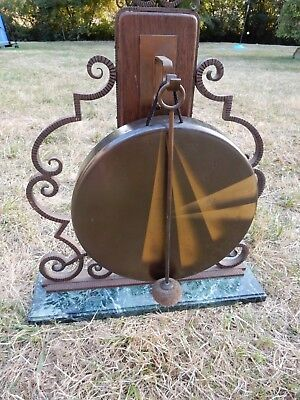 A Large Art Deco Gong On Green Marble Base (Intact ) Generally Vgc