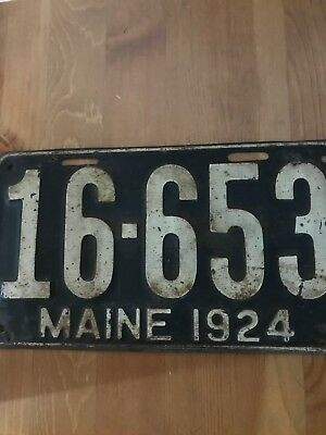 antique 1924 Maine Licence Plate