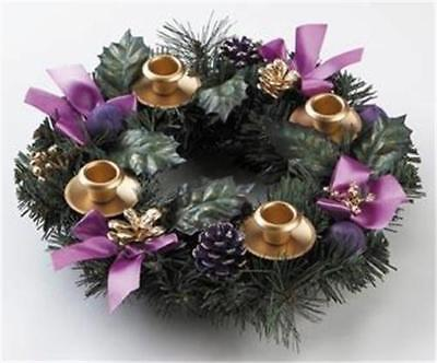 Purple Ribbon Advent Wreath Candle Holder Centerpiece Silk Flowers Christmas