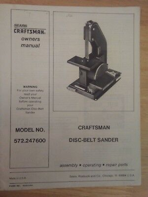 Craftsman Disc-Belt Sander Manual