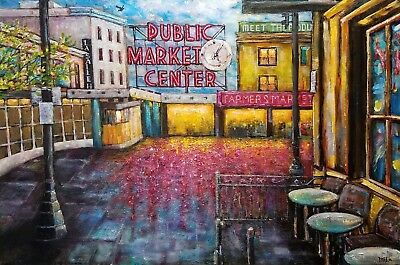 SEATTLE PIKE PLACE 30 x 20 ORIGINAL ACRYLIC PAINTING ON CANVAS SIGNED