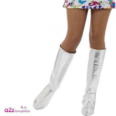 Womens Silver Go Go Boot Covers 1960s 1970s Hippy Mod GoGo Fancy Dress Accessory