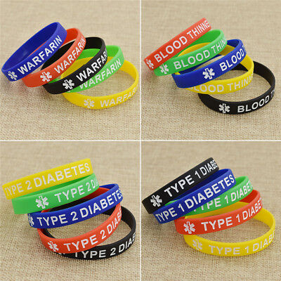 5 PCS Type 1 Diabetic Medical Alert Silicone Wristband Silicone Bracelet Gift