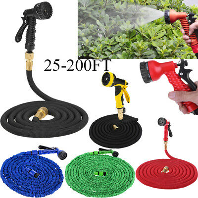 25 50 75 100 200FT Expandable Flexible Home Watering Gun Hose Pipe+Spray Nozzle