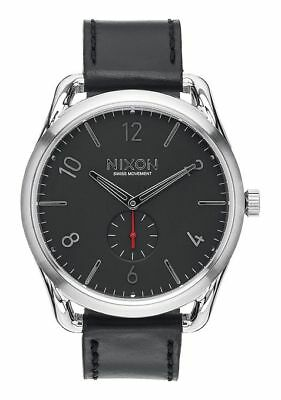 NIXON C45 Leather Watch - A465 008, Black / Red