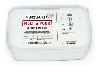 2 x 1kg White Melt & Pour Soap Base Crystal Stephensons Cosmetic Making SLS SLES