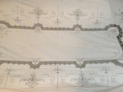 """Linen Table Cloth 104"""" x 66"""", cutout, embroidery and crochet Vintage very nice"""