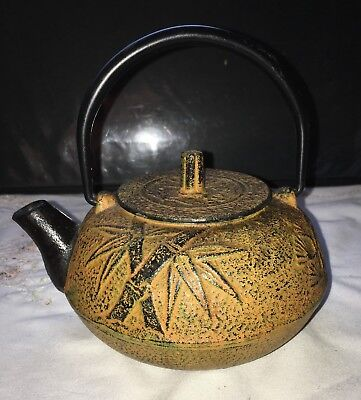 "Antique Japanese cast iron ""Bamboo & Cherry Blossom"" Tetsubin teapot"