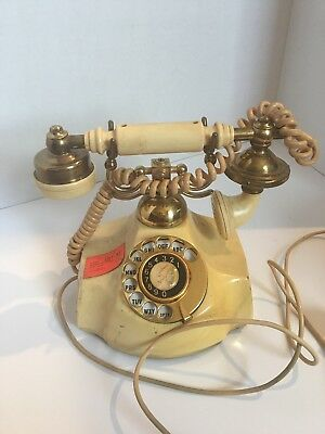 Vintage Electra  Rotary Telephone With Covered Wire Date 8-70 Japan