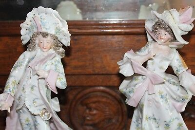 RARE pair Antique SITZENDORF lady and gentalmen figures & Flowers
