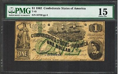 $1 1862 Confederate States of America T-45 PMG 15 - RARE - Green Overprint