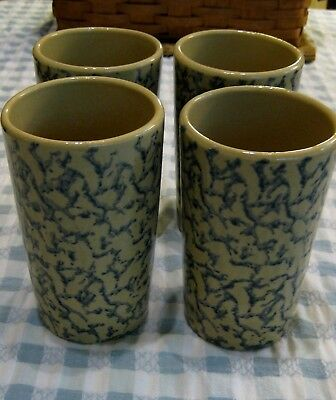 4 Robinson Ransbottom RRP Co. Roseville, Ohio Blue Spongeware 16 oz. Tumblers NM