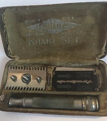 Vtg Ww1 Army Gillette Khaki Set Safety Razor Shaving Kit W/ Box Mirror