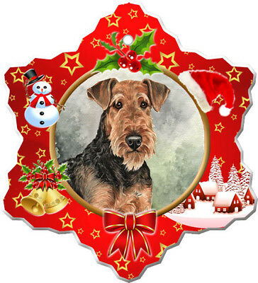 Airedale Terrier Porcelain Christmas Holiday Ornament