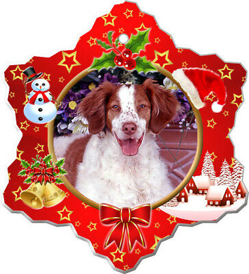 Brittany Spaniel Porcelain Christmas Holiday Ornament