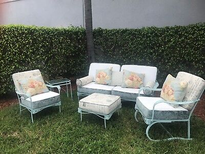 vintage metal patio furniture with Custom Cushions- 5 Pieces