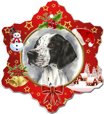 Pointer Porcelain Christmas Holiday Ornament