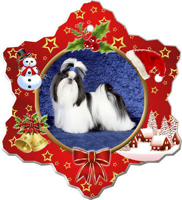 Shih Tzu Porcelain Christmas Holiday Ornament
