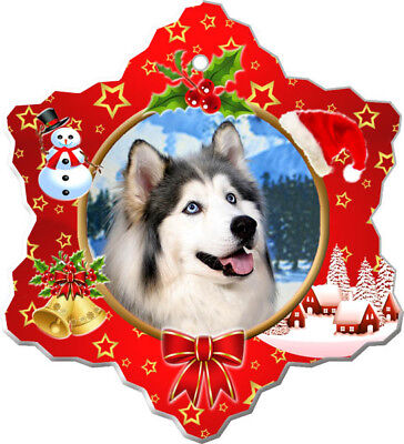 Siberian Husky Porcelain Christmas Holiday Ornament