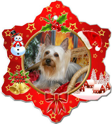 Silky Terrier Porcelain Christmas Holiday Ornament