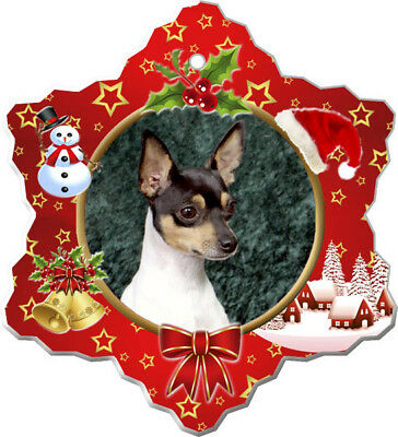 Toy Fox Terrier Porcelain Christmas Holiday Ornament