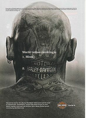 2007 Harley Davidson Motorcycle head tattoo print ad  Great to frame!