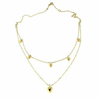 """14k Yellow Gold Double Dangling Hearts Layered Necklace Adjustable 15.75""""-16.5"""""""