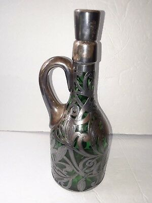 Antique Gorham Sterling Silver Overlay Emerald Green Crystal Cut Glass Decanter