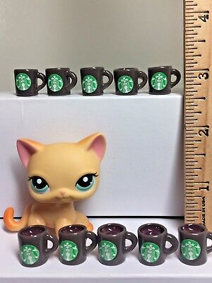 10 Pc Dollhouse Miniature Starbucks Coffee Cups-Mugs-Brown1:6th Scale