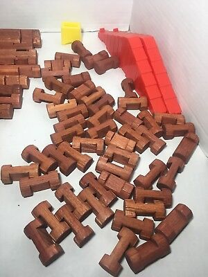 Vintage Lot Playskool Wood Lincoln Logs Over 80 Pieces