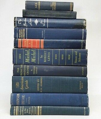 Lot 10 gorgeous NAVY DARK BLUE VINTAGE BOOKS rare old decorative ~ Ships FREE!