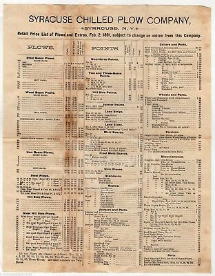 Syracuse Chilled Plow Ny Farm Supply Agricultural Antique Advertising Price List