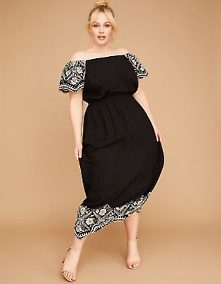 de27a720aefb9 New LANE BRYANT $99 Embroidered Off the Shoulder Maxi Dress B/W Plus Size 26