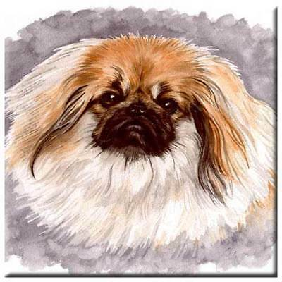 "Pekingese 4"" Decorative, Cork Backed, Ceramic Tile"
