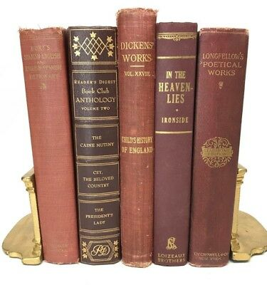 Lot 5 gorgeous RED VINTAGE BOOKS burgundy rare old decorative ~ Ships FREE!