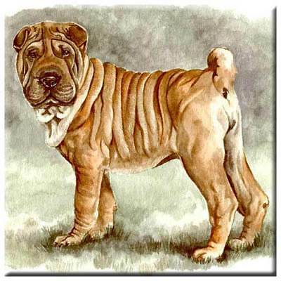 "Chinese Shar-Pei 4"" Decorative, Cork Backed, Ceramic Tile"