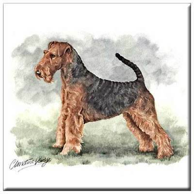 """Airedale Terrier 4"""" Decorative, Cork Backed, Ceramic Tile"""