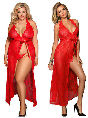 2Pc Long Dress Red Backless Halter Floral Lace + G-String + Sash Plus Size 8-22