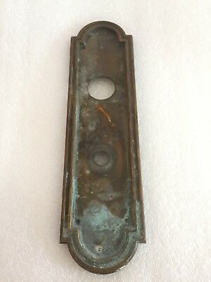 "Antique Vintage Brass Door Lock Back Plate 11"" Escutcheon"