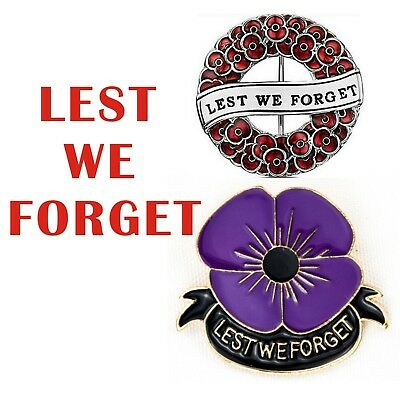 Enamel Purple Poppy Brooches Pin Badge Animal Remembrance day Bulk Lots Memorial