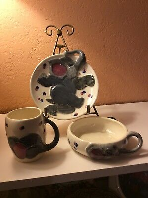 Vintage  Ceramic Hand Crafted Child Cereal Bowl And Cup Decorated With Elephants
