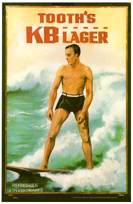 Tooth's KB Lager Surf's Up photo poster 325x500mm beer surfing surfboard bar