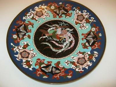 Stunning Antique Japanese Meiji Period Cloisonne & Enamel Charger