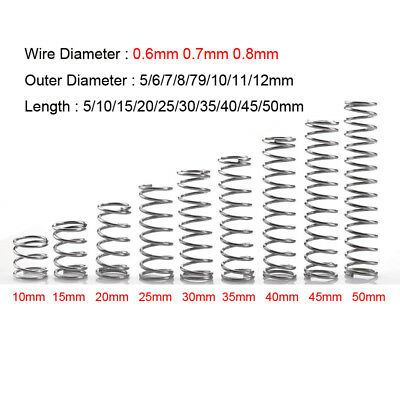0.6mm 0.7mm 0.8mm Wire Diameter 304 Stainless Steel Compression Pressed Springs