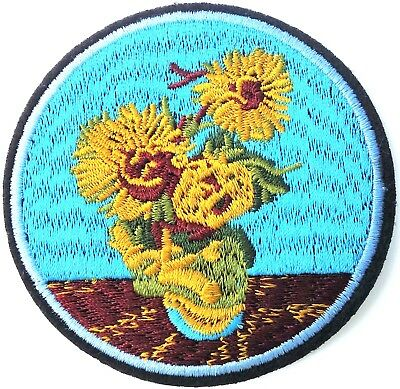 "Starry Night Embroidered Iron on Patch Applique 3.75""x2.75"" Van Gogh"