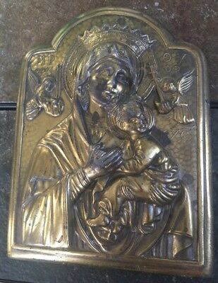 Religious Icon Brass Relief Wall Plaque Madonna & Child