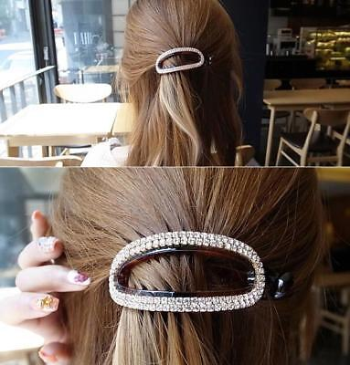 Fashion Women Acrylic Hair Clip Hairpin Clamp Crystal Oval Ponytail Holder