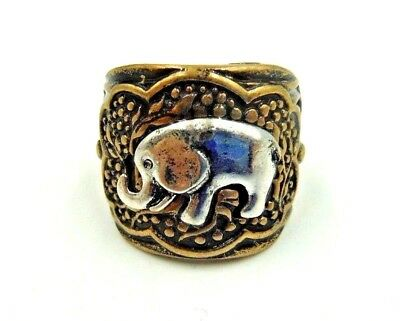 Super Cute Etched Antique Gold Stretch Ring With Silver Elephant